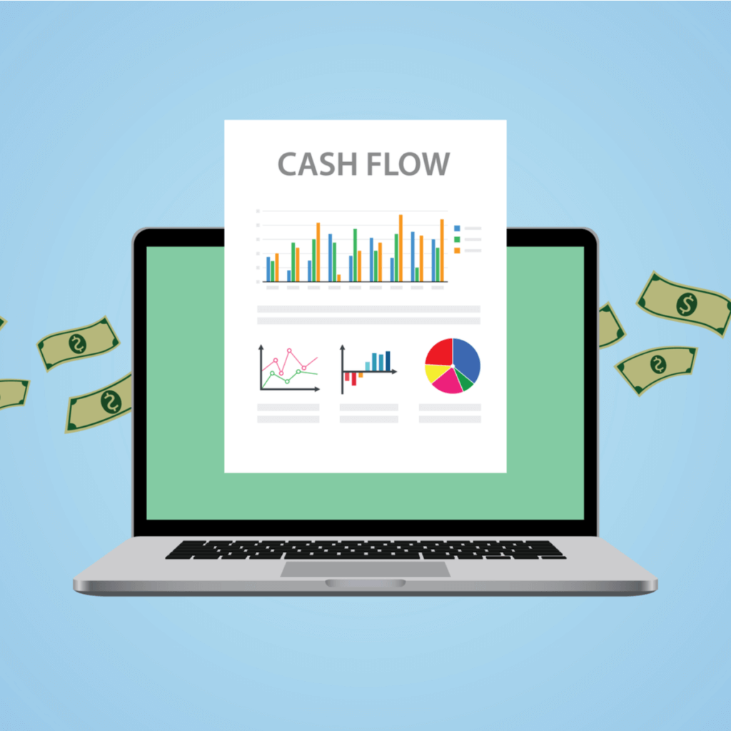 Cash Flow Graphic - Laptop Screen with Charts and Statistics